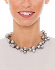Deborah Grivas - Grey Pearl Woven Necklace