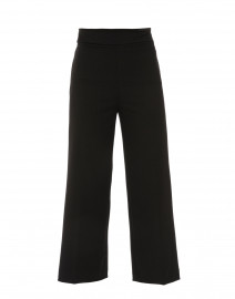 Black Crepe Wide Leg Pull-On Ankle Pant