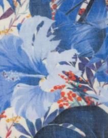 Tilo - Blue Leaf Printed Wool and Silk Scarf