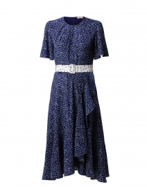 Indu Navy Daisy Printed Silk Dress