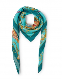 Teal Toy Horse Printed Cashmere and Silk Scarf