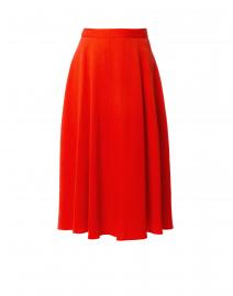 Coral Red Crepe Midi Skirt