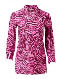 Chris Merlot Zebra Printed Nylon Top