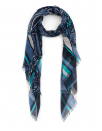 Navy and Blue Paisley Silk Cashmere Scarf