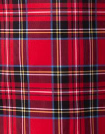 Gretchen Scott - Red Tartan Plaid Ruffleneck Top