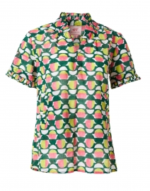Ebisu Pink and Green Geometric Cotton Voile Top