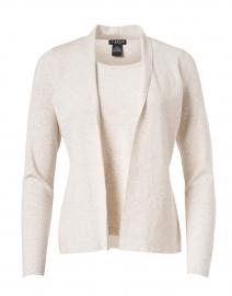 Oatmeal Stretch Knit Cardigan Top