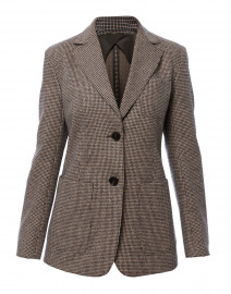 Gancio Camel and Navy Houndstooth Blazer
