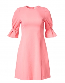Kerry Coral Jersey Ruched Sleeve Dress