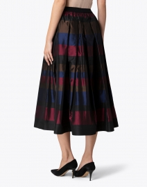 Sara Roka - Goji Navy and Burgundy Stripe Taffeta Skirt