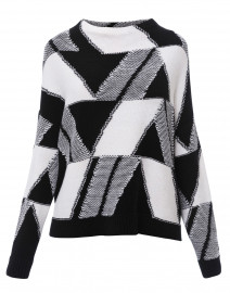 Black and White Geometric Print Sweater
