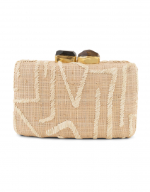Zara Hand Embroidered Natural Raffia Clutch