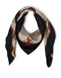 Beige Tassel Chain Printed Silk Scarf