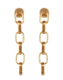 Gold Textured Link Drop Earrings