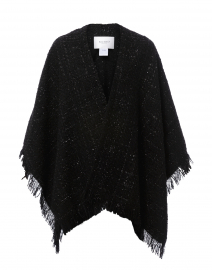 Ale Black Lurex Tweed Fringe Cape