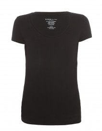 Black Scoop Neck Stretch Viscose Top