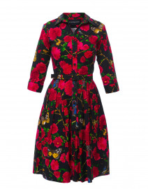 Audrey Navy Rose Butterfly Printed Cotton Shirt Dress