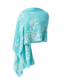 Turquoise Blue Embroidered Floral Wool Scarf