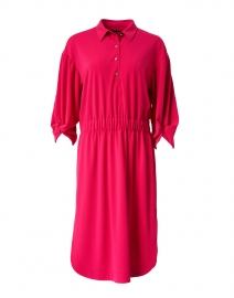 Pink Henley Stretch Shirt Dress
