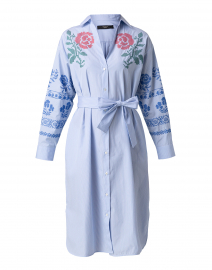 Giga Light Blue and White Striped Embroidered Shirt Dress