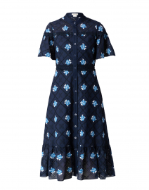 Almendra Navy Cotton Eyelet Shirt Dress