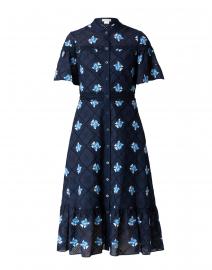 Almendra Navy Cotton Eyelet Shirt Dress
