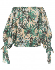 Green Palm Leaf Print Top
