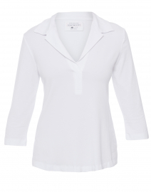 White Henley Bamboo-Cotton Top