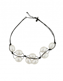 Cotton Pearl Black Necklace