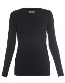 Black Crew Neck Long-Sleeved Stretch Viscose Top