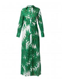 Kathe Queen Palm Print Cotton Maxi Shirt Dress