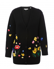 Charleston Black Floral Embroidered Cardigan