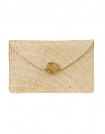 Capri Natural Straw Clutch with Agate Clasp