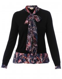 Black Floral Printed Tie Neck Sweater