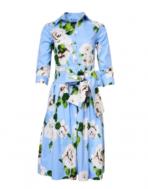 Samantha Sung - Audrey White and Sky Blue Floral Stretch Cotton Dress