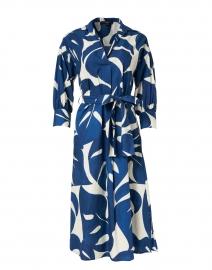 Blue and White Palm Print Cotton Poplin Shirt Dress