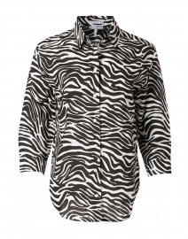 Halsey Black and White Zebra Print Linen Shirt