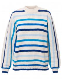 Technicolor Blue Striped Cotton Sweater