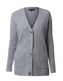 Light Grey Ribbed Cashmere Cardigan