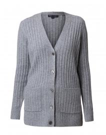 Light Grey Ribbed Cashmere Cardigan