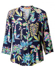 Martha Multicolored Leaf Printed Henley Top