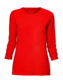 Red Pima Cotton Ruched Sleeve Tee