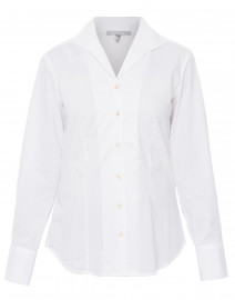 Donna White Button Down Stretch Cotton Shirt