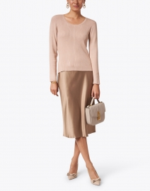 Edward Achour - Camel Viscose Sweater with Gold Buttons