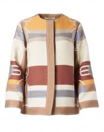 Beige Saddle Printed Wool Jacket