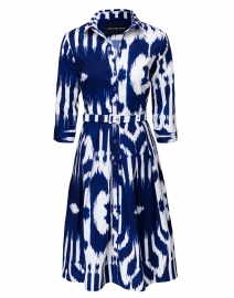 Audrey Cobalt Blue and White Ikat Print Stretch Cotton Dress