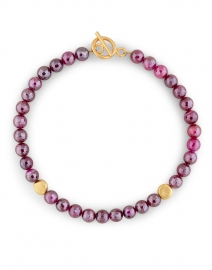 Magenta and Gold Nugget Beaded Necklace