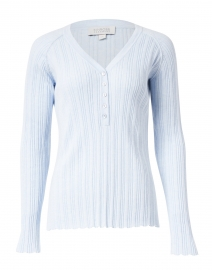 Light Blue Cotton Cashmere Ribbed Top