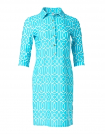 Susanna Aqua Garden Gate Printed Henley Dress