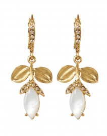 Mother of Pearl Flower Drop Pave Encrusted Earring